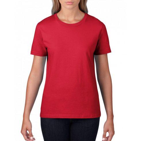 Gildan, női prémium pamut póló, piros