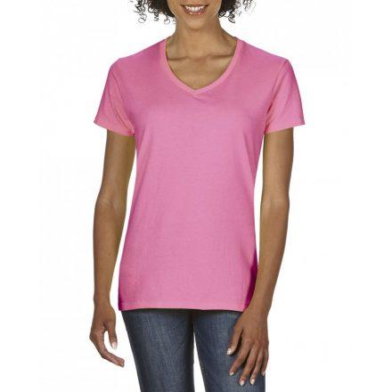 Gildan V nyaku Női prémium pamut póló, azalea