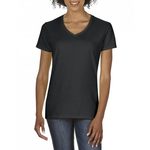 Gildan V nyaku Női prémium pamut póló, fekete