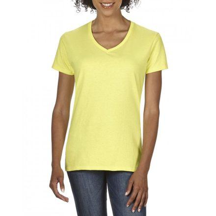Gildan V nyaku Női prémium pamut póló, cornsilk