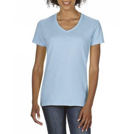 Gildan V nyaku Női prémium pamut póló, világoskék