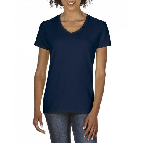 Gildan V nyaku Női prémium pamut póló, sötétkék