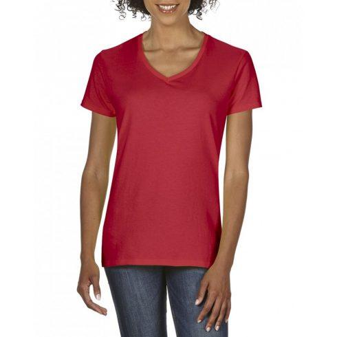 Gildan V nyaku Női prémium pamut póló, piros