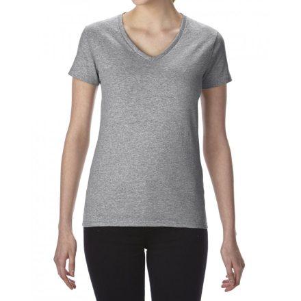 Gildan V nyaku női prémium póló, sportszürke