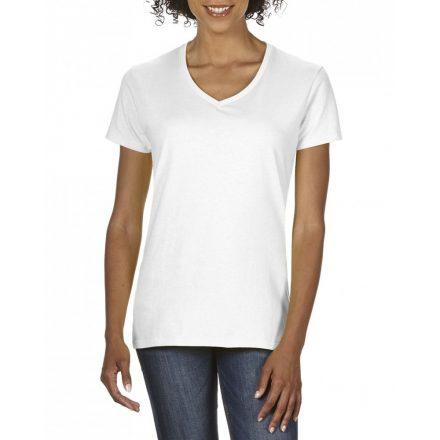 Gildan V nyaku női prémium pamut póló, fehér