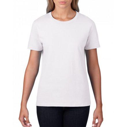 Gildan, női prémium pamut póló, fehér