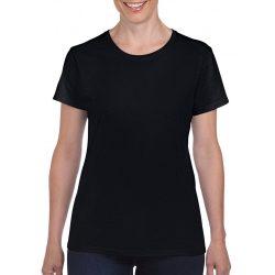 Gildan női környakas póló, fekete
