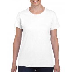 Gildan női környakas póló, fehér