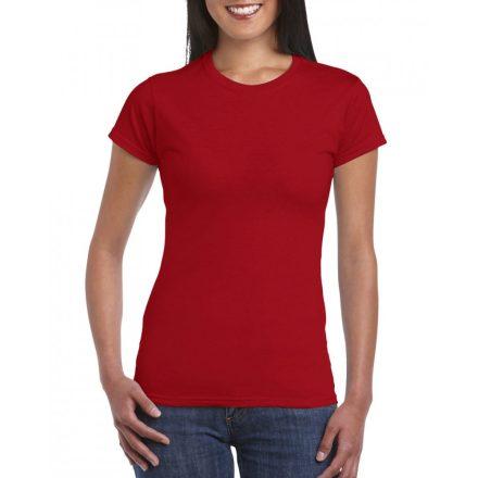 Softstyle Gildan női póló, cseresznye piros