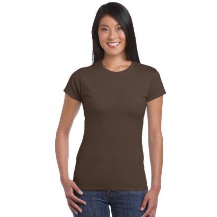 Softstyle Gildan női póló, étcsokoládé