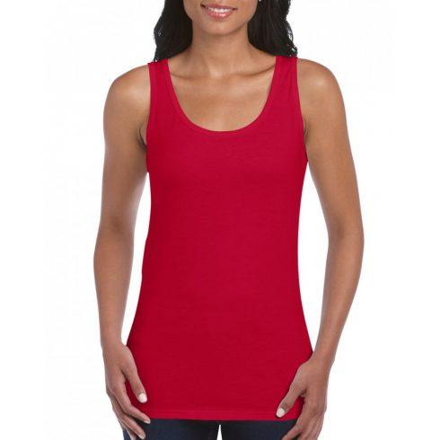 Gildan Női környakú trikó,Cherry Red