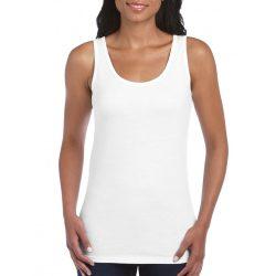 Gildan női ujjatlan póló, fehér
