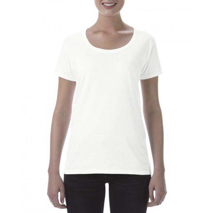 Lágy tapintásu Gildan női póló, fehér