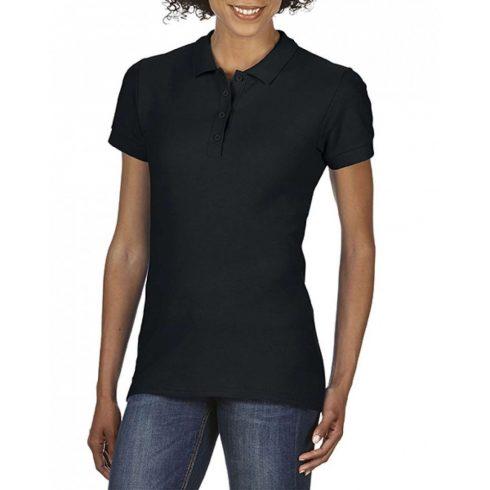 Gildan SOFTSTYLE Női dupla piké póló, Black