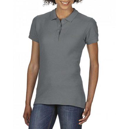 Gildan SOFTSTYLE Női dupla piké póló, Charcoal