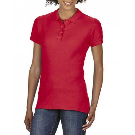 Gildan SOFTSTYLE Női dupla piké póló, Red
