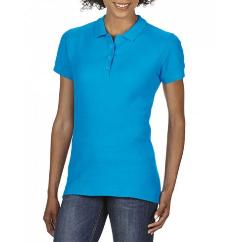 Gildan SOFTSTYLE Női dupla piké póló, Sapphire