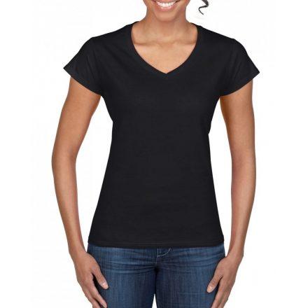 Gildan női v-nyakú póló, fekete