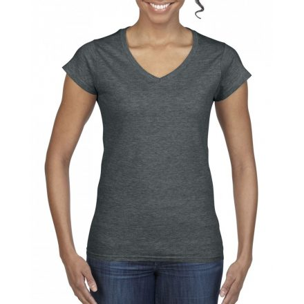 Gildan női v-nyakú póló, dark heather