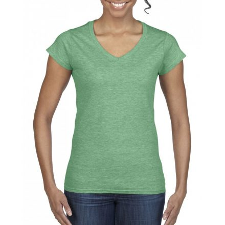 Gildan női v-nyakú póló, heather irish green