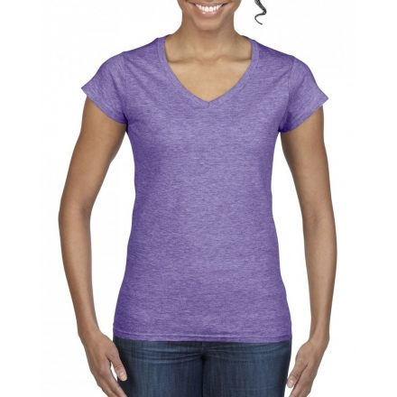Gildan női v-nyakú póló, heather purple