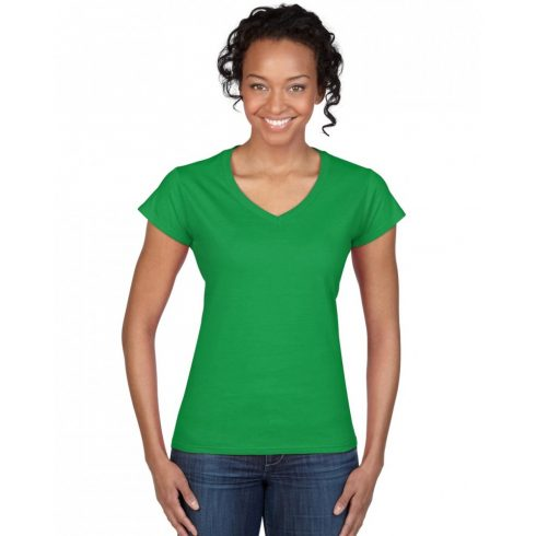 Gildan női v-nyakú póló, írzöld