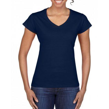 Gildan női v-nyakú póló, sötétkék