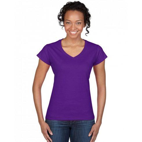 Gildan női v-nyakú póló, lila