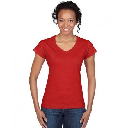 Gildan női v-nyakú póló, piros