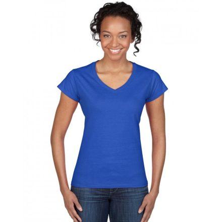 Gildan női v-nyakú póló, királykék