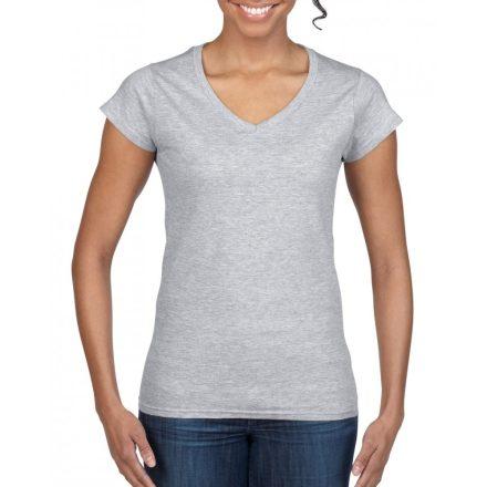 Gildan női v-nyakú póló, sportszürke