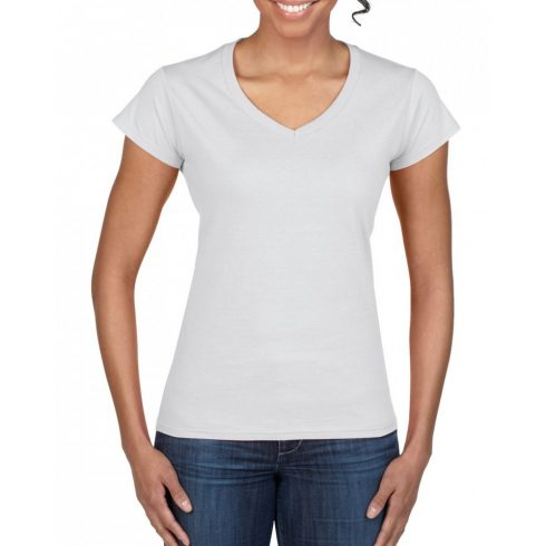 Gildan női v-nyakú póló, fehér