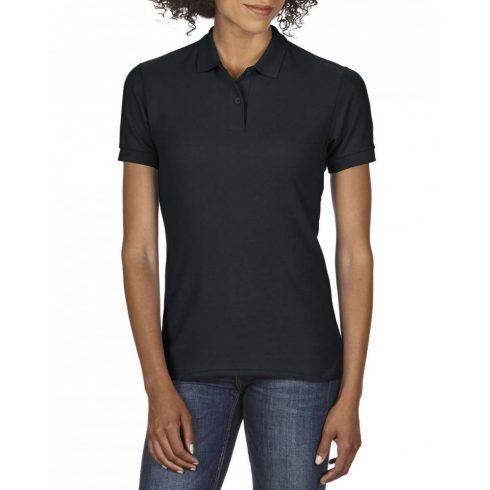 Gildan DryBlend Női póló dupla piké anyagból, fekete