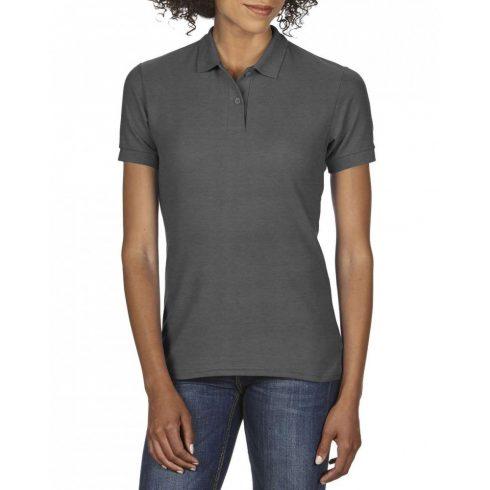 Gildan DryBlend Női póló dupla piké anyagból, sötétszürke