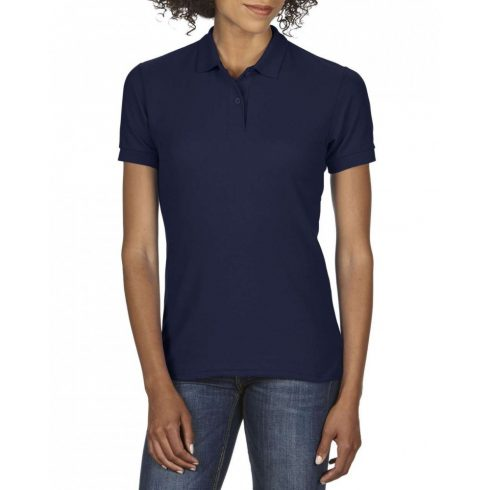 Gildan DryBlend Női póló dupla piké anyagból, sötétkék