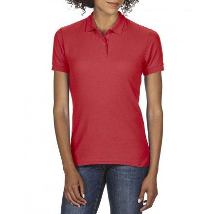 Gildan DryBlend Női póló dupla piké anyagból, piros