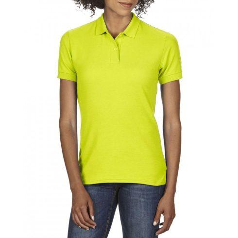 Gildan DryBlend Női póló dupla piké anyagból, Safety Green