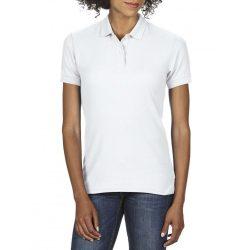 Gildan DryBlend Női póló dupla piké anyagból, fehér