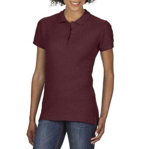 Gildan prémium Női dupla piké póló, maroon
