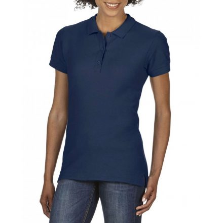 Gildan prémium Női dupla piké póló, sötétkék