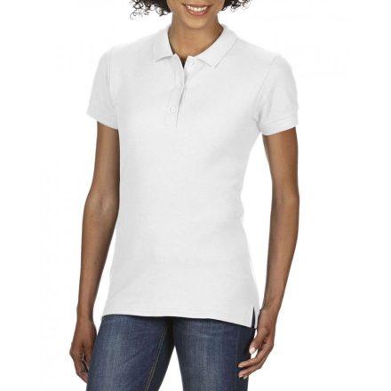 Gildan prémium Női dupla piké póló, fehér
