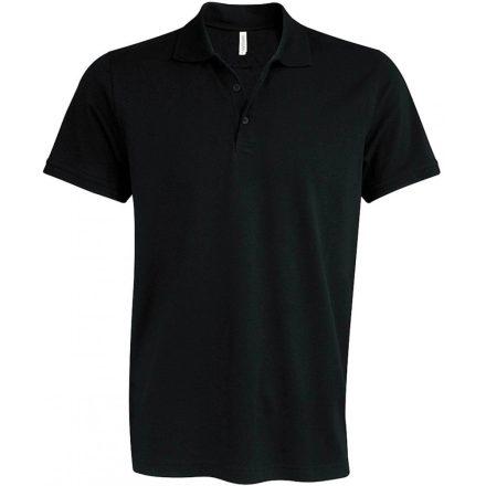 Kariban kötött galléros póló, fekete
