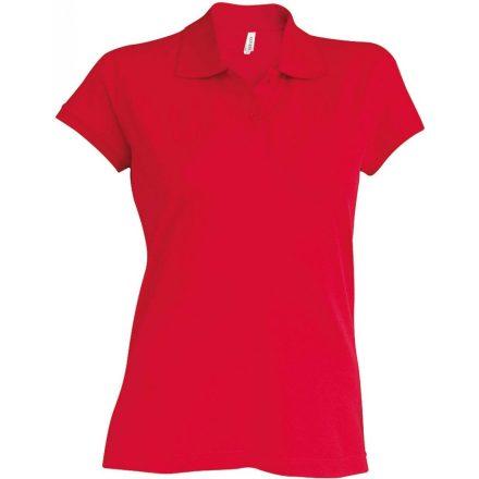 Kariban Női kötött galléros póló, piros
