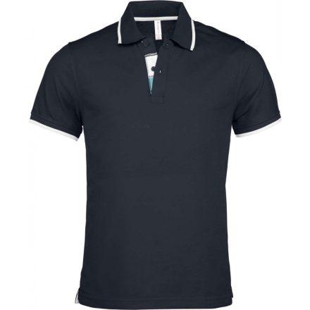 Kariban galléros piké póló, sötétkék/fehér/light türkíz