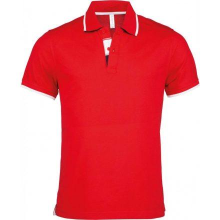 Kariban galléros piké póló, piros/fehér/sötétkék