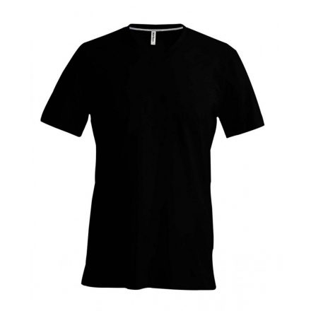 Kariban V-nyakú karcsusított pamut póló, fekete