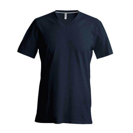 Kariban V-nyakú karcsusított pamut póló, sötétszürke