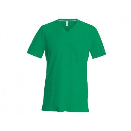 Kariban V-nyakú karcsusított pamut póló, fűzöld