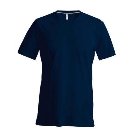 Kariban V-nyakú karcsusított pamut póló, sötétkék