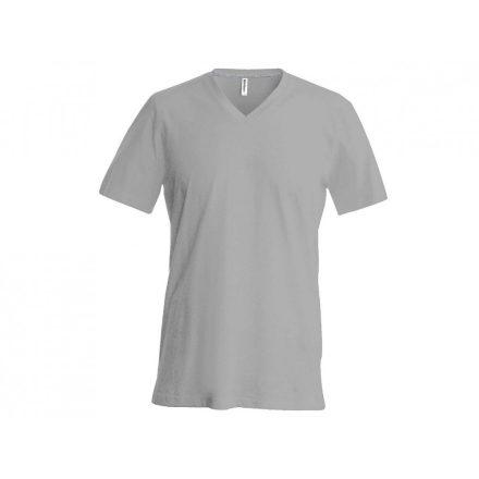 Kariban V-nyakú karcsusított póló, oxford szürke